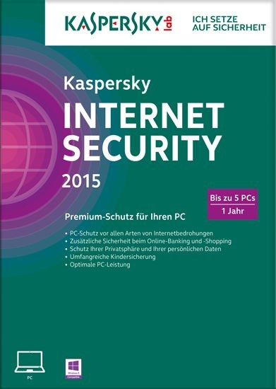 Kaspersky Internet Security, 5 User, 1 Jahr, gültig für 2015/2016, KEY
