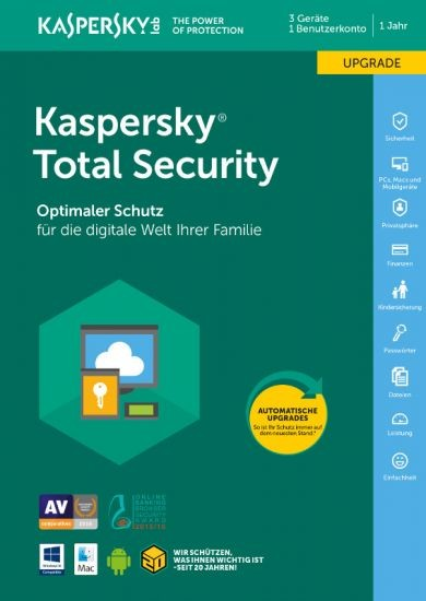 Kaspersky Total Security, Upgrade, 3 Geräte, 1 Jahr, Download