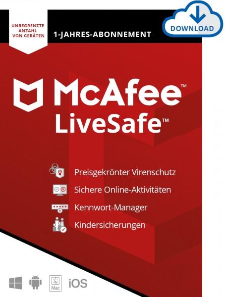 McAfee LiveSafe, unlimited (bis zu 50 Geräte) 1 Jahr, ESD, Lizenz, Download