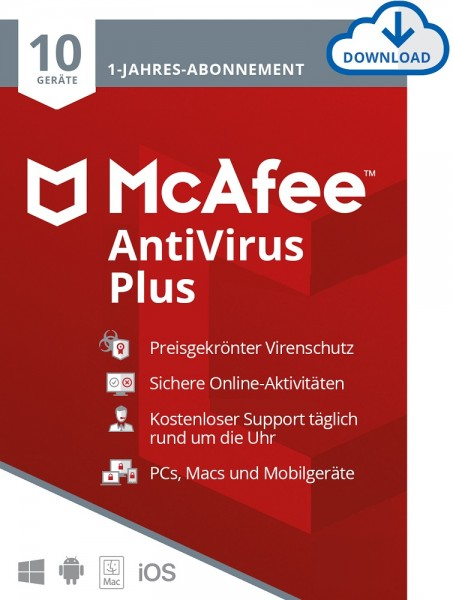 McAfee AntiVirus Plus - 10 Geräte, 1 Jahr, ESD, Lizenz, Download