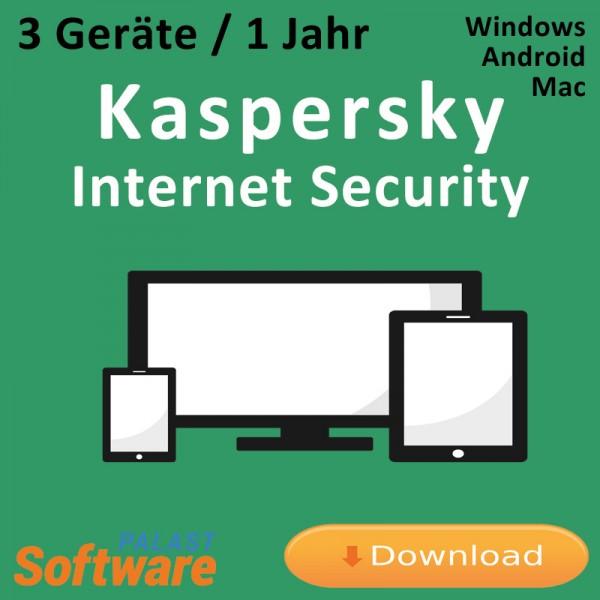 Kaspersky Internet Security, 3 Geräte, 1 Jahr, Download