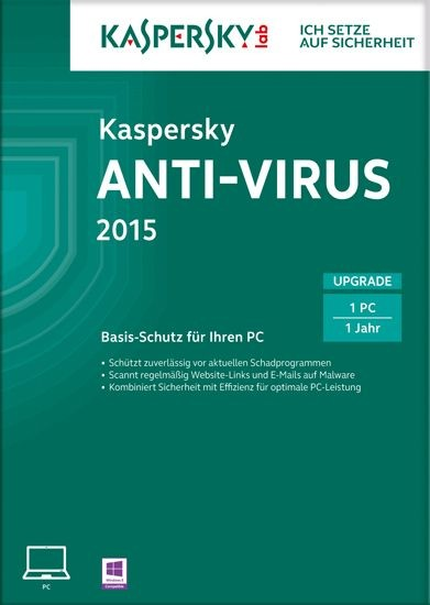 Kaspersky Antivirus 2015, Upgrade, 1 User, 1 Jahr, KEY