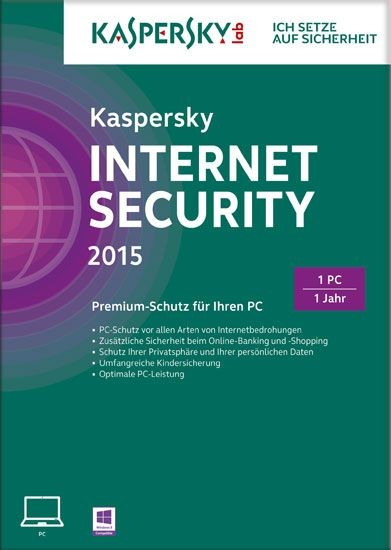 Kaspersky Internet Security, 1 User, 1 Jahr, gültig für 2015/2016, KEY