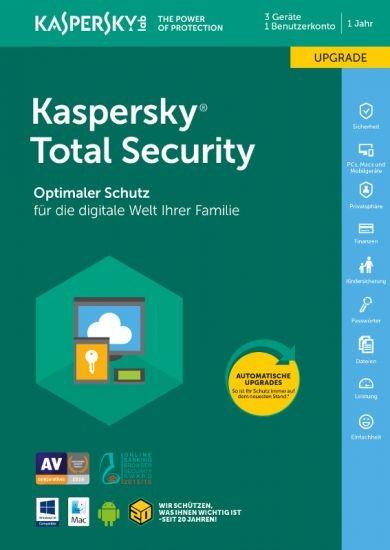 Kaspersky Total Security, Upgrade, 3 Geräte, 1 Jahr, ESD, Lizenz, Download