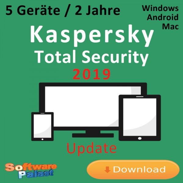 Kaspersky Total Security 2019 *5-Geräte / 2-Jahre* Update, Download