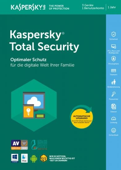 Kaspersky Total Security, 3 Geräte, 1 Jahr, Download