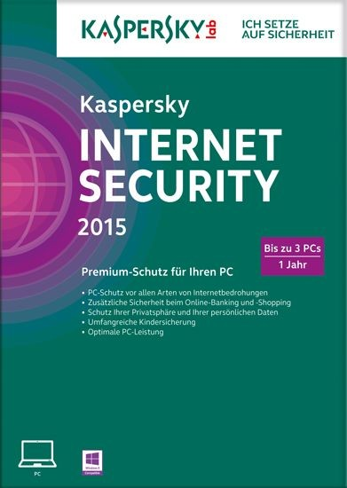 Kaspersky Internet Security, 3 User, 1 Jahr, gültig für 2015/2016, KEY