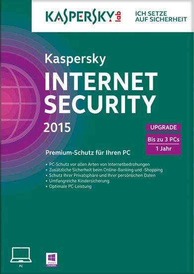 Kaspersky Internet Security, Upgrade, 3 User, 1 Jahr, gültig für 2015/2016, KEY