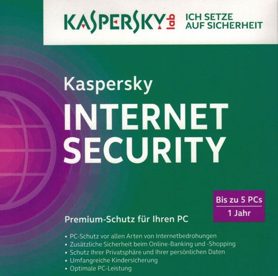 Kaspersky Internet Security, 5 User, 1 Jahr, gültig für 2016/2017, KEY