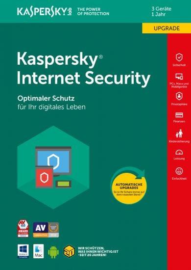 Kaspersky Internet Security, Upgrade, 3 Geräte, 1 Jahr, Download