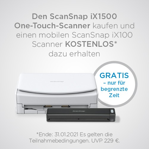 Fujitsu ScanSnap ix1500 Dokumentenscanner + iX100 Gratis (Versand von Fujitsu)