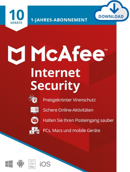 McAfee Internet Security - 10 Geräte, 1 Jahr, ESD, Lizenz, Download