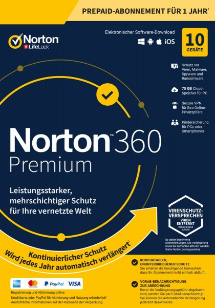 NORTON 360 PREMIUM (Internet Security) 10-Geräte / 1-Jahr ABO inkl.75GB, ESD KEY