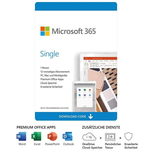 Microsoft Office 365 Single (Personal) 1-Benutzer 5-Geräte 1-Jahr, ESD Lizenz Download KEY