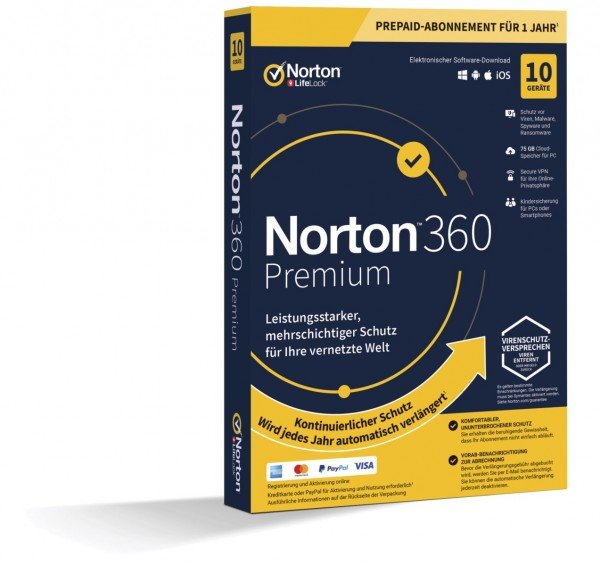 NORTON 360 PREMIUM (Internet Security) 10-Geräte / 1-Jahr ABO inkl.75GB BOX