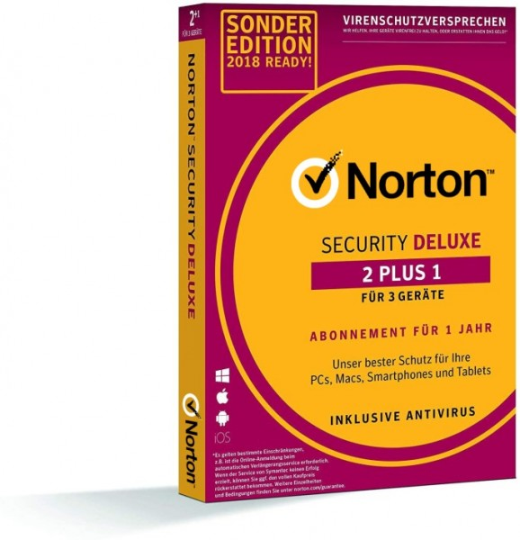 Norton Security Deluxe *2+1= 3-Geräte / 1-Jahr* Box (Card Case)