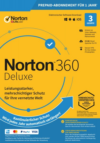 NORTON 360 Deluxe (Internet Security) 3-Geräte / 1-Jahr ABO inkl. 25GB, ESD KEY