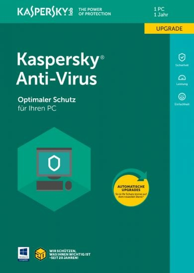 Kaspersky Anti-Virus, Upgrade, 1 PC, 1 Jahr, Download (2017/2018)