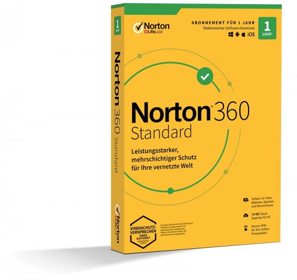 NORTON 360 STANDARD 1 Gerät / 1 Jahr inkl. 10GB, KEIN ABO, BOX