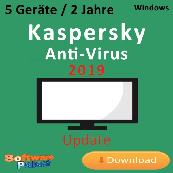 Kaspersky Anti-Virus 2019 *5-Geräte / 2-Jahre* Update, Download