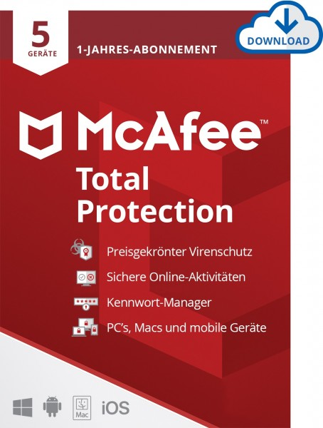 McAfee Total Protection 5 Geräte, 1 Jahr, ESD, Lizenz, Download, KEY
