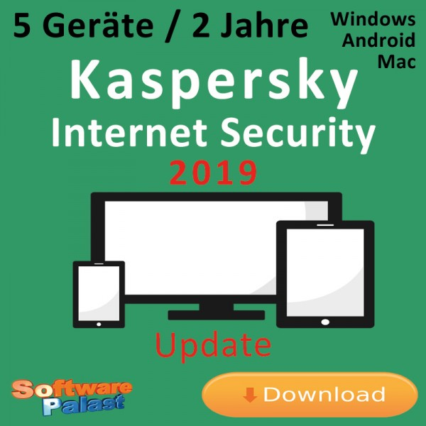 Kaspersky Internet Security 2019 *5-Geräte / 2-Jahre* Update, Download