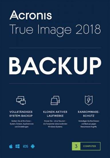 Acronis True Image 2018, 3 Geräte PC/Mac/iOS/Android, Dauerlizenz, Download