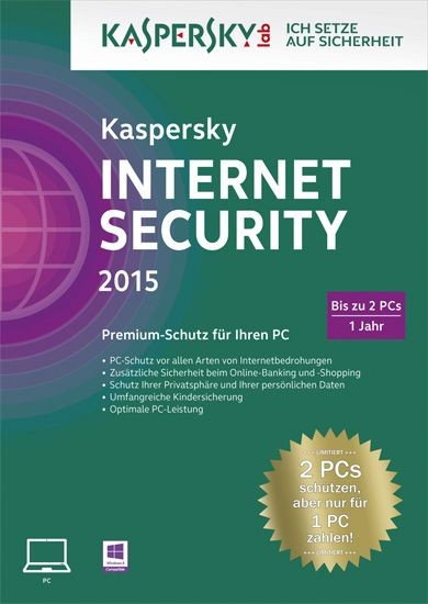 Kaspersky Internet Security, 2 User, 1 Jahr, KEY